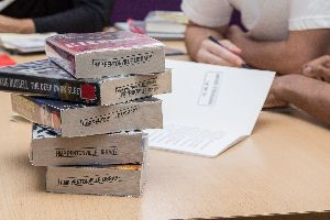 Stack of books at HMP Pentonville